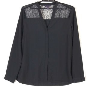 Long Tall Sally lace insert woven blouse 9563A